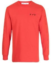 Camiseta de manga larga estampada roja de Off-White