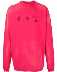 Camiseta de manga larga estampada rosa de Off-White