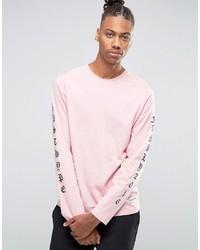 Camiseta de manga larga estampada rosada