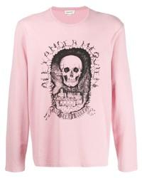 Camiseta de manga larga estampada rosada de Alexander McQueen