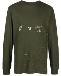 Camiseta de manga larga estampada verde oliva de Off-White