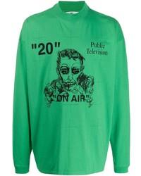 Camiseta de manga larga estampada verde de Off-White