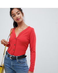Camiseta de manga larga roja de Miss Selfridge Petite
