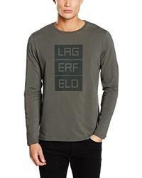 Camiseta de manga larga verde oliva de LAGERFELD