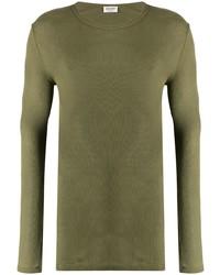 Camiseta de manga larga verde oliva de Saint Laurent