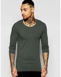 Camiseta de manga larga verde oscuro