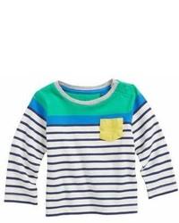 Camiseta de rayas horizontales en blanco y azul marino