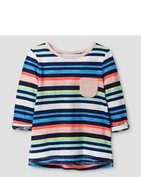 Camiseta de rayas horizontales en multicolor