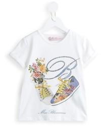Camiseta estampada blanca de Miss Blumarine