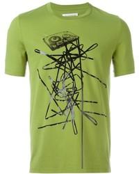 Camiseta estampada en amarillo verdoso de Maison Margiela