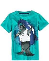 Camiseta estampada en turquesa