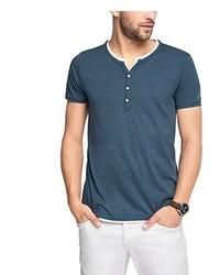 Camiseta henley azul de Esprit