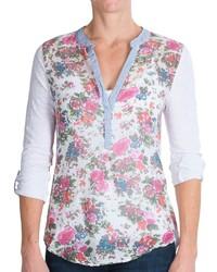 Camiseta henley con print de flores blanca