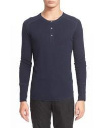 Camiseta henley de manga larga azul marino