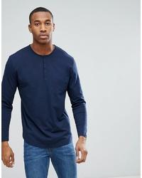 Camiseta henley de manga larga azul marino de ASOS DESIGN