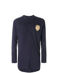 Camiseta henley de manga larga azul marino de Balmain