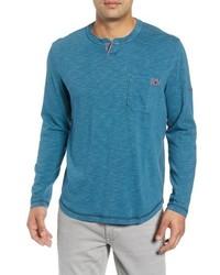 Camiseta henley de manga larga azul