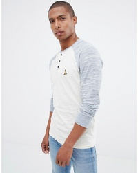 Camiseta henley de manga larga blanca de Brave Soul