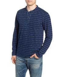 Camiseta henley de manga larga de rayas horizontales azul marino
