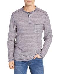 Camiseta henley de manga larga de rayas horizontales azul