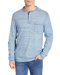 Camiseta henley de manga larga de rayas horizontales celeste