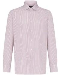 Camiseta henley de manga larga de rayas verticales en blanco y marrón de Ermenegildo Zegna