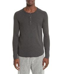 Camiseta henley de manga larga en gris oscuro