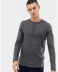Camiseta henley de manga larga en gris oscuro de ASOS DESIGN