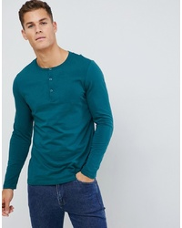 Camiseta henley de manga larga en verde azulado de ASOS DESIGN