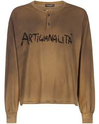 Camiseta henley de manga larga estampada marrón claro de Dolce & Gabbana
