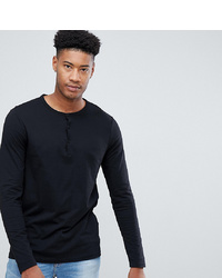 Camiseta henley de manga larga negra de ASOS DESIGN