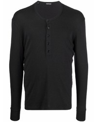 Camiseta henley de manga larga negra de Tom Ford