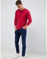Camiseta henley de manga larga roja de ASOS DESIGN
