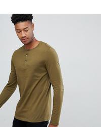 Camiseta henley de manga larga verde oliva de ASOS DESIGN