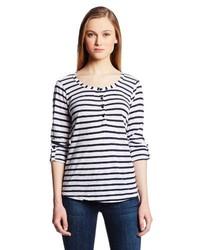Camiseta henley de rayas horizontales en azul marino y blanco