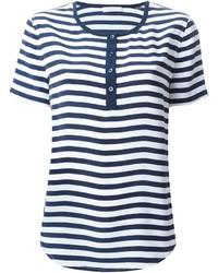 Camiseta henley de rayas horizontales en azul marino y blanco de Equipment