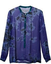 Camiseta Henley de Seda Azul de Raquel Allegra
