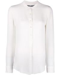 Camiseta henley de seda blanca de Raquel Allegra