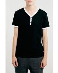 Camiseta henley en negro y blanco