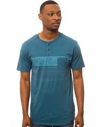 Camiseta henley en verde azulado