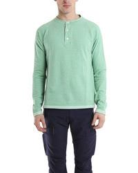 Camiseta henley en verde menta