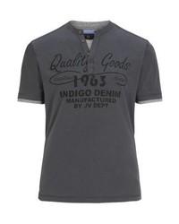 Camiseta henley estampada en gris oscuro de Jan Vanderstorm