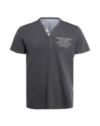 Camiseta henley estampada en gris oscuro de Tom Tailor