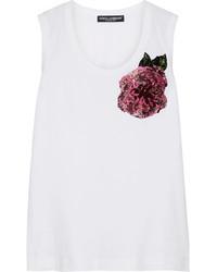 Camiseta sin manga con adornos blanca de Dolce & Gabbana