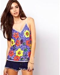 Camiseta sin manga con print de flores azul de Asos