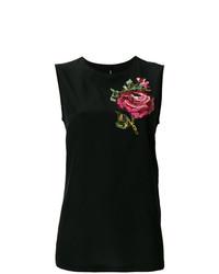 Camiseta sin manga con print de flores negra de Dolce & Gabbana