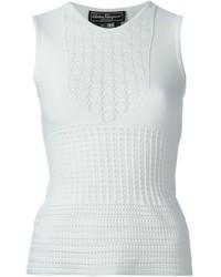 Camiseta sin manga de crochet blanca de Salvatore Ferragamo