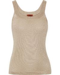 Camiseta sin manga de crochet de punto dorada de Missoni