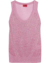 Camiseta sin manga de crochet de punto rosada de Missoni