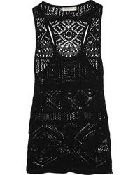 Camiseta sin manga de crochet negra de Emilio Pucci